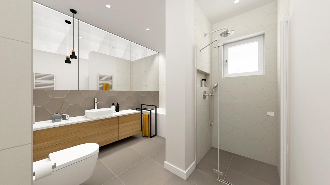 Projekt dużej łazienki w domu pod Warszawą