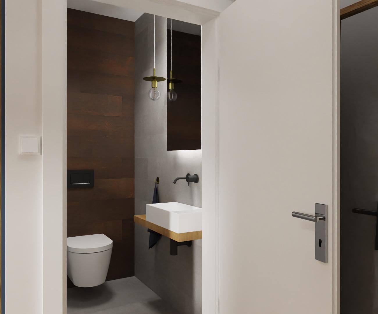 Projekt ciemnej łazienki w domu pod Warszawą