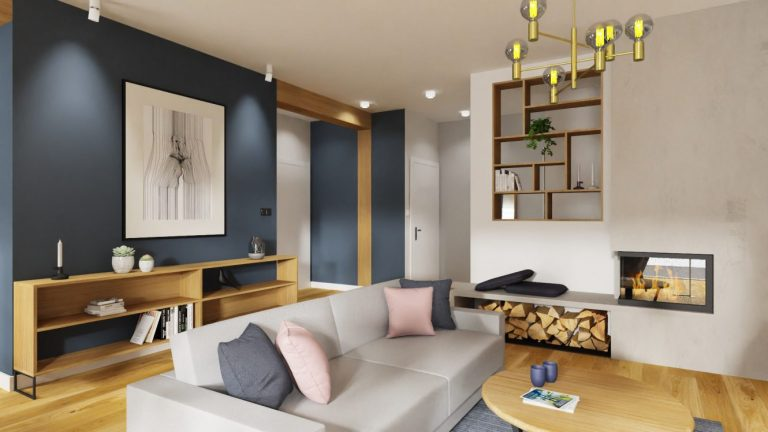 Projekt niebieskiego salonu w domu pod Warszawą