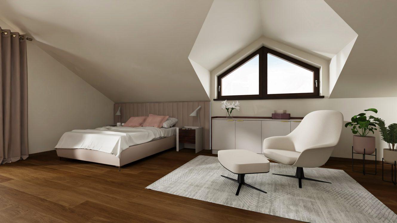 Projekt pokoju nastolatki w domu na Mazurach nad jeziorem
