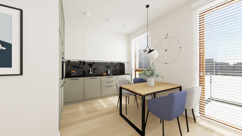 Projekt salonu z kuchnią w mieszkaniu w Piastowie