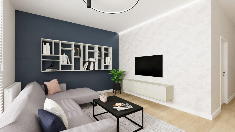 Projekt salonu w mieszkaniu w Piastowie