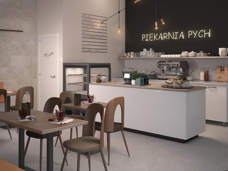 Projekt wnętrza kawiarni w Warszawie