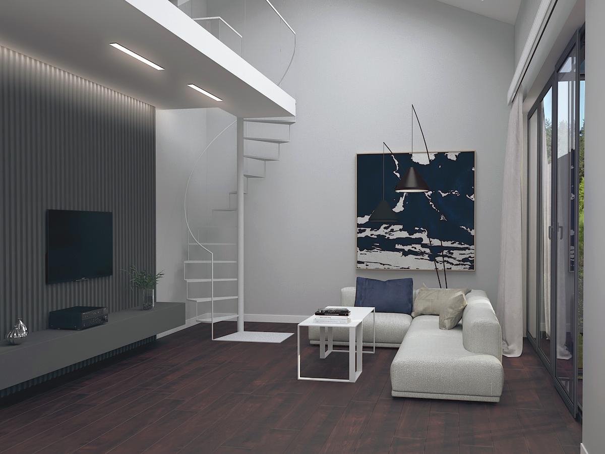 Projekt funkcjonalnego salonu w domu pod Warszawą