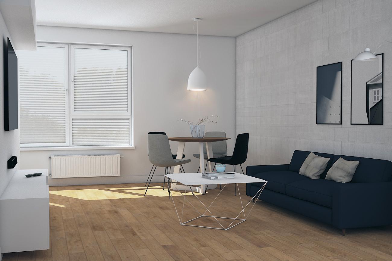 Projekt salonu w mieszkaniu dla singla w Warszawie