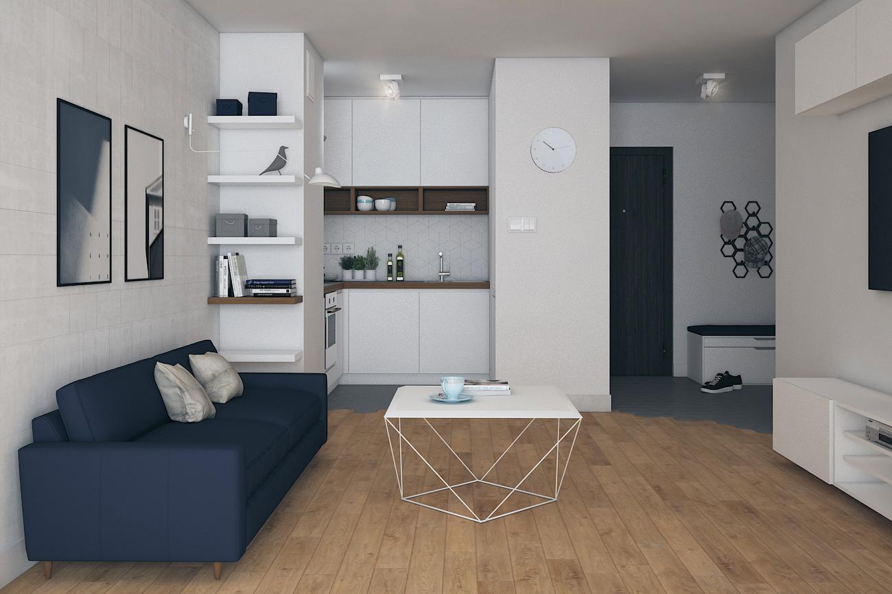 Projekt salonu z kuchnią w mieszkaniu dla singla w Warszawie