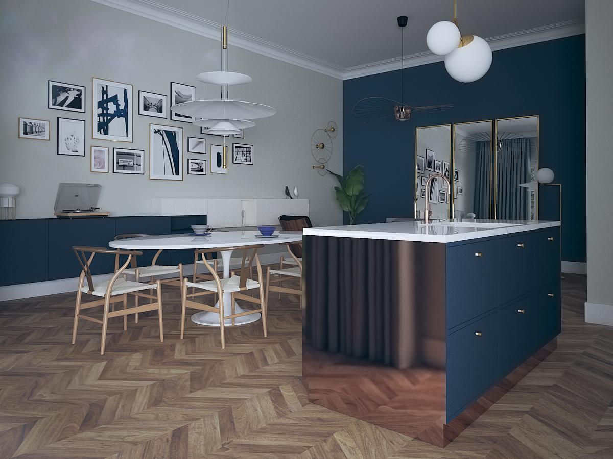 Projekt nowoczesnej jadalni w mieszkaniu w Warszawie