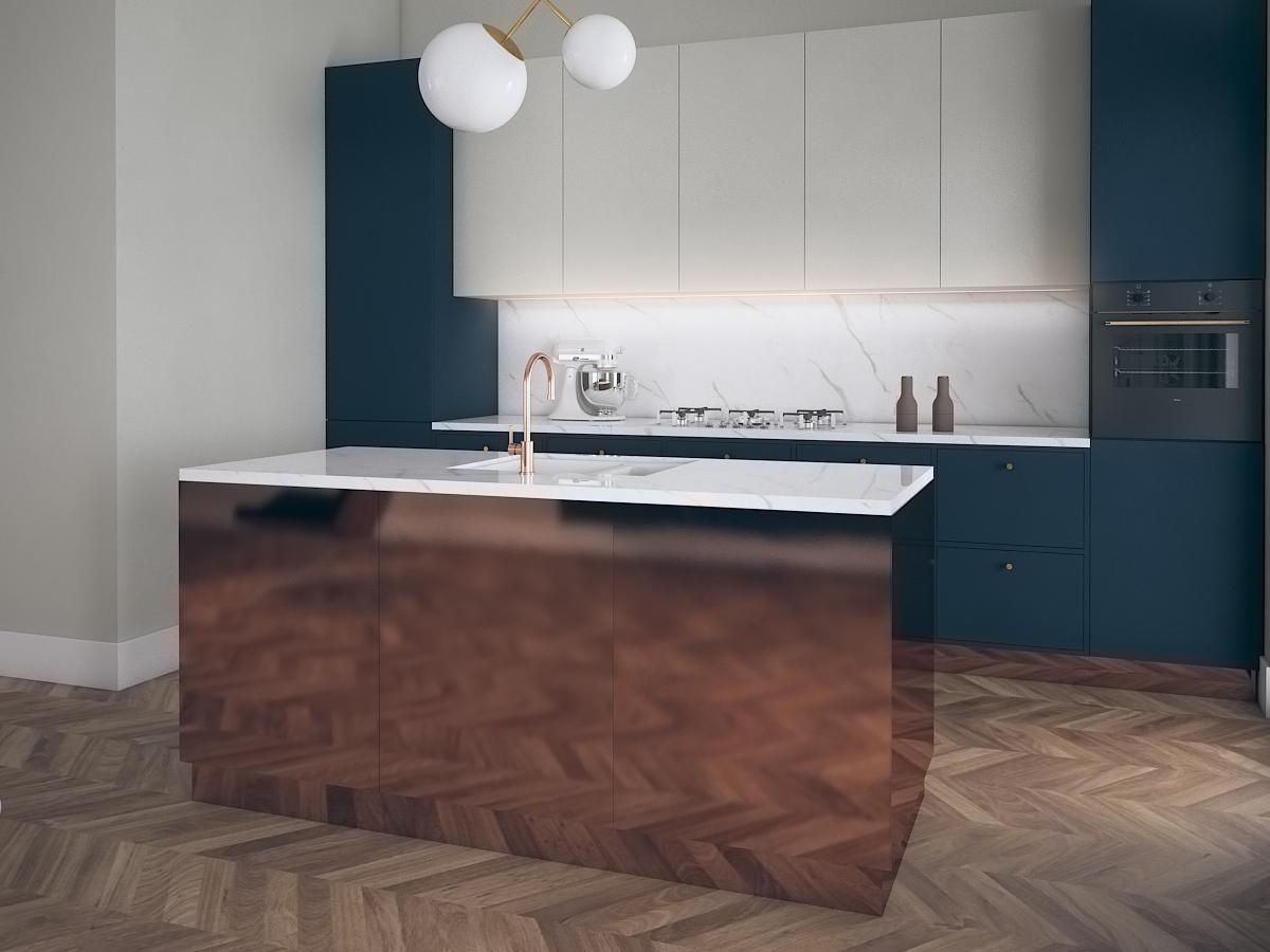 Projekt nowoczesnej kuchni z wyspą w mieszkaniu w Warszawie