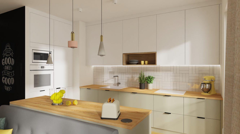 Projekt kolorowej kuchni w mieszkaniu w Warszawie