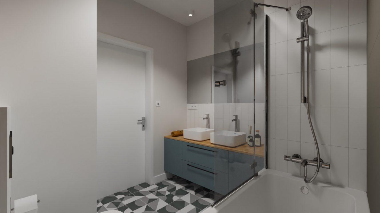 Projekt szarej łazienki w mieszkaniu w Warszawie