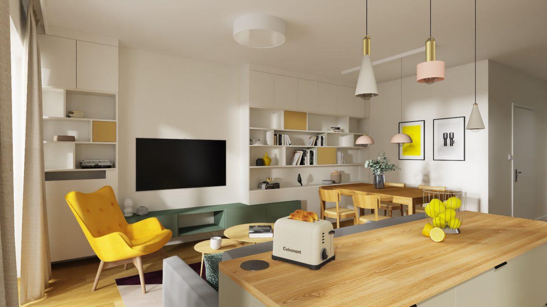 Projekt kolorowego salonu w mieszkaniu w Warszawie