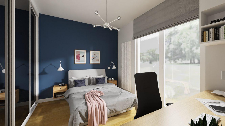 Projekt kolorowej sypialni w mieszkaniu w Warszawie