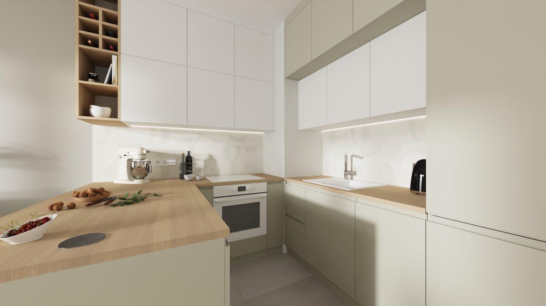 Projekt kuchni w kolorach ziemi w mieszkaniu w Warszawie Wilanów
