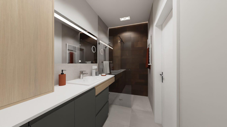 Projekt łazienki w kolorach ziemi w mieszkaniu w Warszawie Wilanów