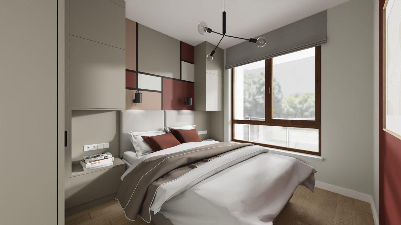 Projekt sypialni w kolorach ziemi w mieszkaniu w Warszawie Wilanów