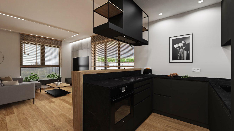 Projekt kuchni w loftowym mieszkaniu w Warszawie