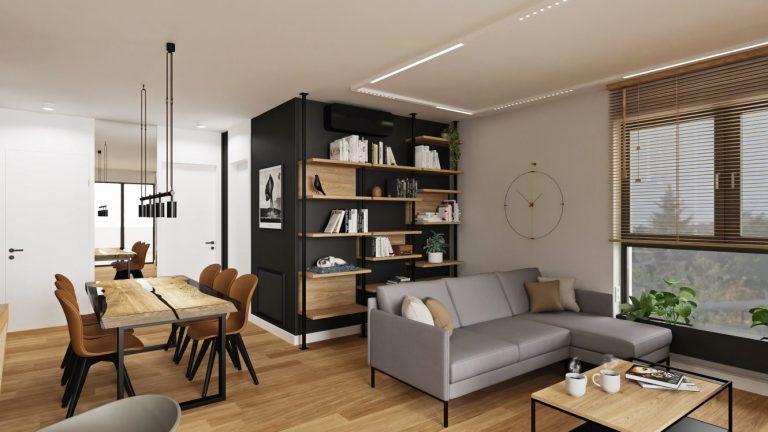 Projekt salonu w loftowym mieszkaniu w Warszawie
