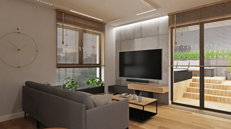 Projekt loftowego salonu w mieszkaniu w Warszawie