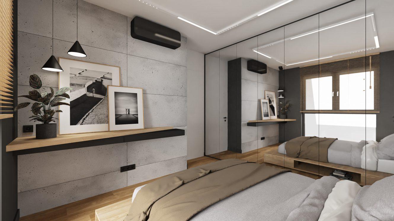 Projekt sypialni w loftowym mieszkaniu w Warszawie