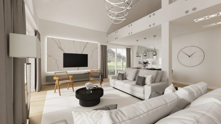 Projekt salonu w domu pod Warszawą