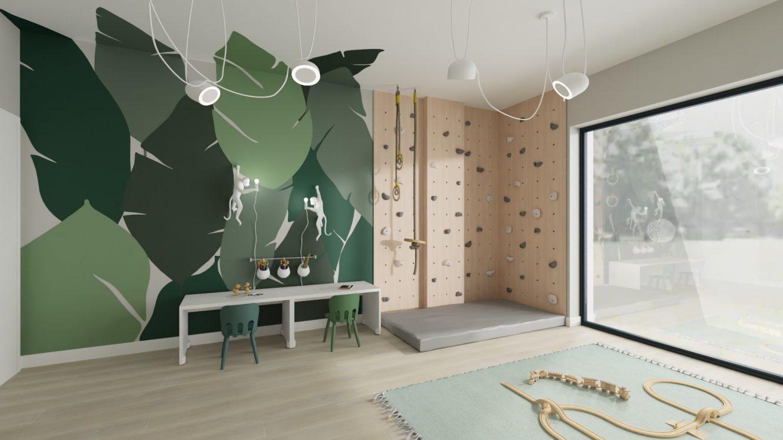 Projekt minimalistycznej bawialni dla dzieci w domu pod Warszawą