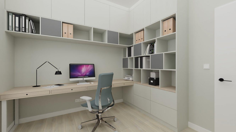 Projekt minimalistycznego gabinetu w domu pod Warszawą