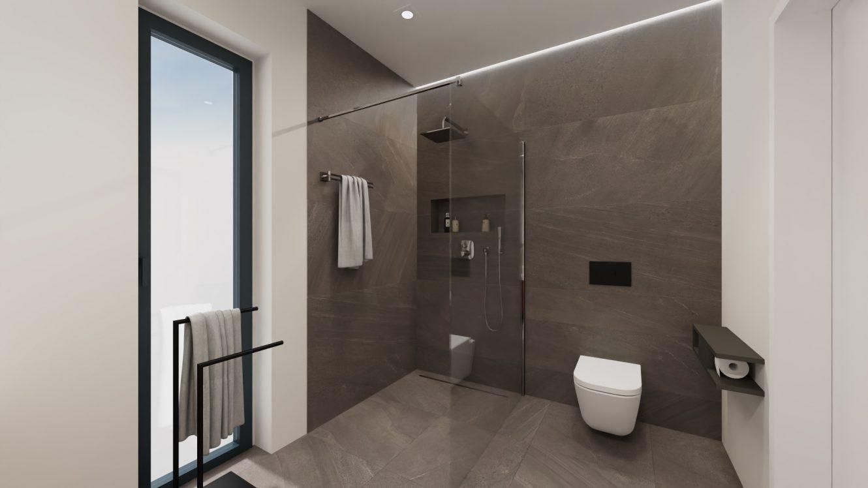 Projekt minimalistycznej łazienki przy sypialni w domu pod Warszawą