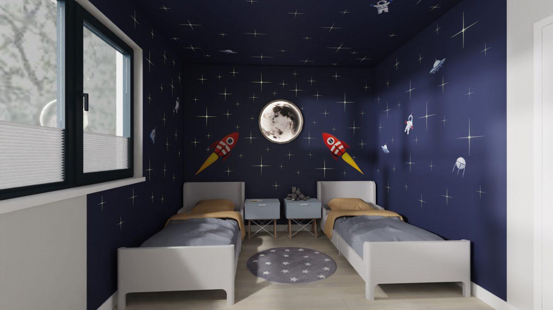 Projekt minimalistycznej sypialni dzieci w domu pod Warszawą
