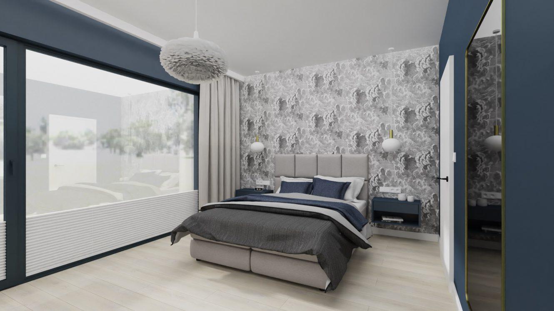 Projekt minimalistycznej sypialni w domu pod Warszawą