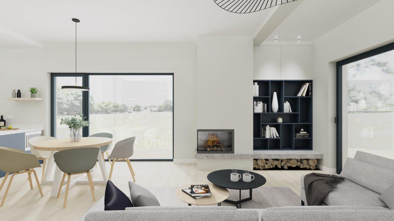 Projekt minimalistycznego salonu w domu pod Warszawą