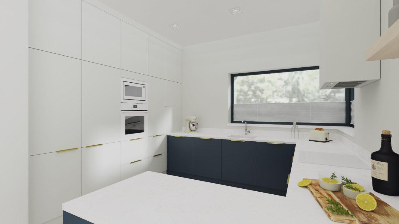 Projekt minimalistycznej kuchni w domu pod Warszawą