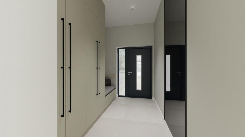 Projekt minimalistycznej sieni w domu pod Warszawą
