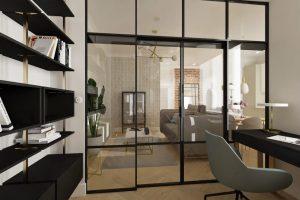 Projekt nowoczesnego gabinetu w mieszkaniu w Warszawie