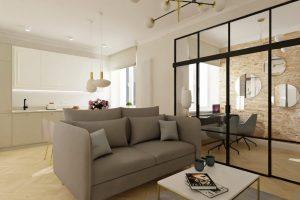 Projekt nowoczesnego salonu z kuchnią w mieszkaniu w Warszawie