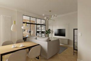 Projekt nowoczesnego salonu w mieszkaniu na warszawskiej Woli