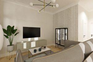 Projekt nowoczesnego salonu w mieszkaniu w Warszawie