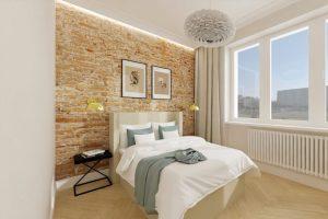 Projekt nowoczesnej sypialni w mieszkaniu w Warszawie