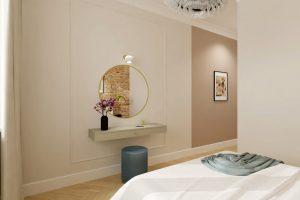 Projekt nowoczesnej sypialni w mieszkaniu na warszawskiej Woli