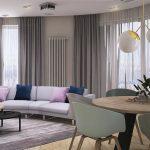 Projekt przestronnego salonu z jadalnią w mieszkaniu w Warszawie