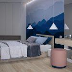 Projekt niebieskiej sypialni w mieszkaniu w Warszawie
