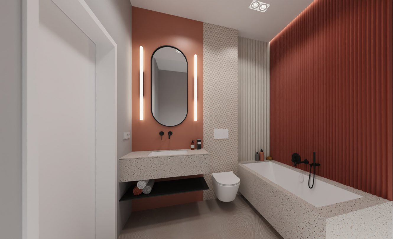 Projekt nowoczesnej i eleganckiej łazienki w mieszkaniu na warszawskich Bielanach