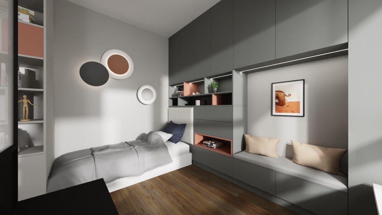 Projekt nowoczesnego i eleganckiego pokoju nastolatki w mieszkaniu na warszawskich Bielanach