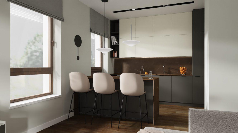 Projekt nowoczesnej i eleganckiej kuchni w mieszkaniu na warszawskich Bielanach