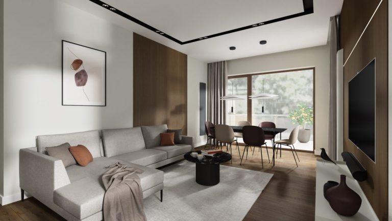 Projekt nowoczesnego i eleganckiego salonu w mieszkaniu na warszawskich Bielanach