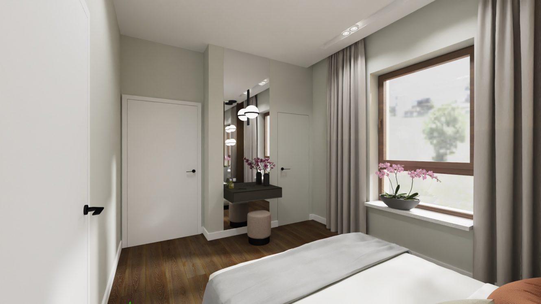 Projekt nowoczesnej i eleganckiej sypialni w mieszkaniu na warszawskich Bielanach