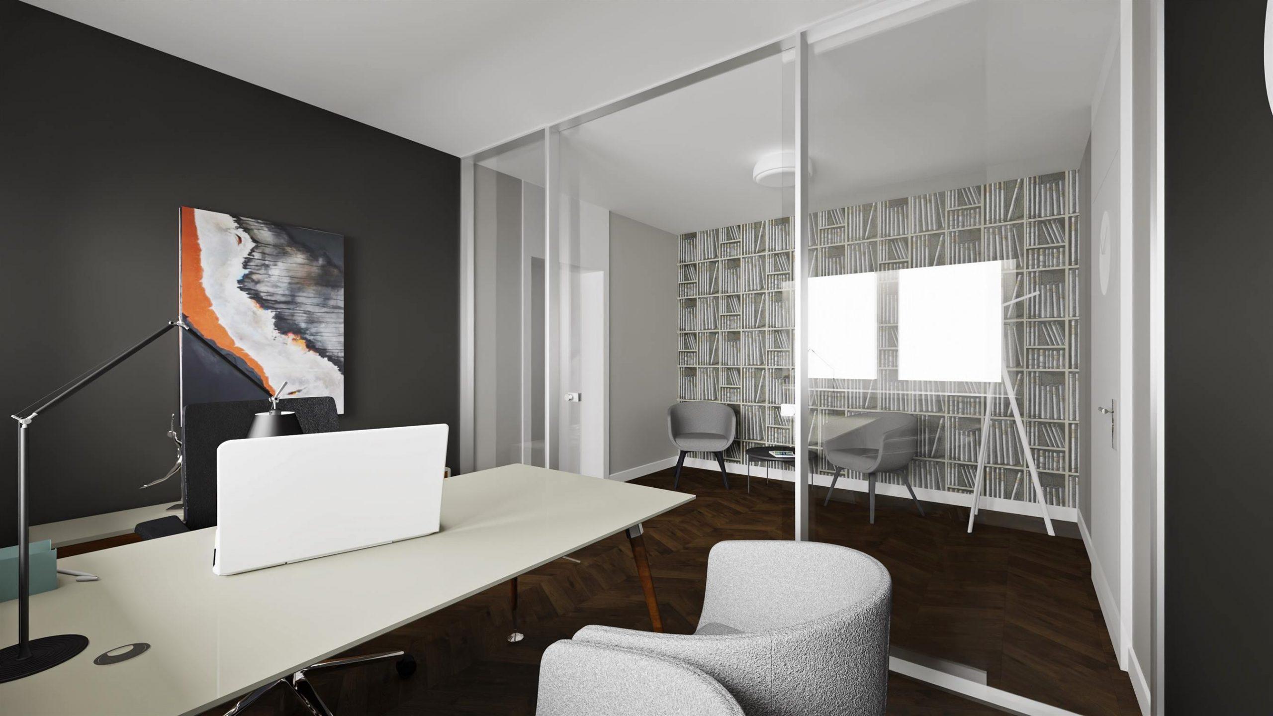 Projekt nowoczesnego pomieszczenia biurowego w Warszawie