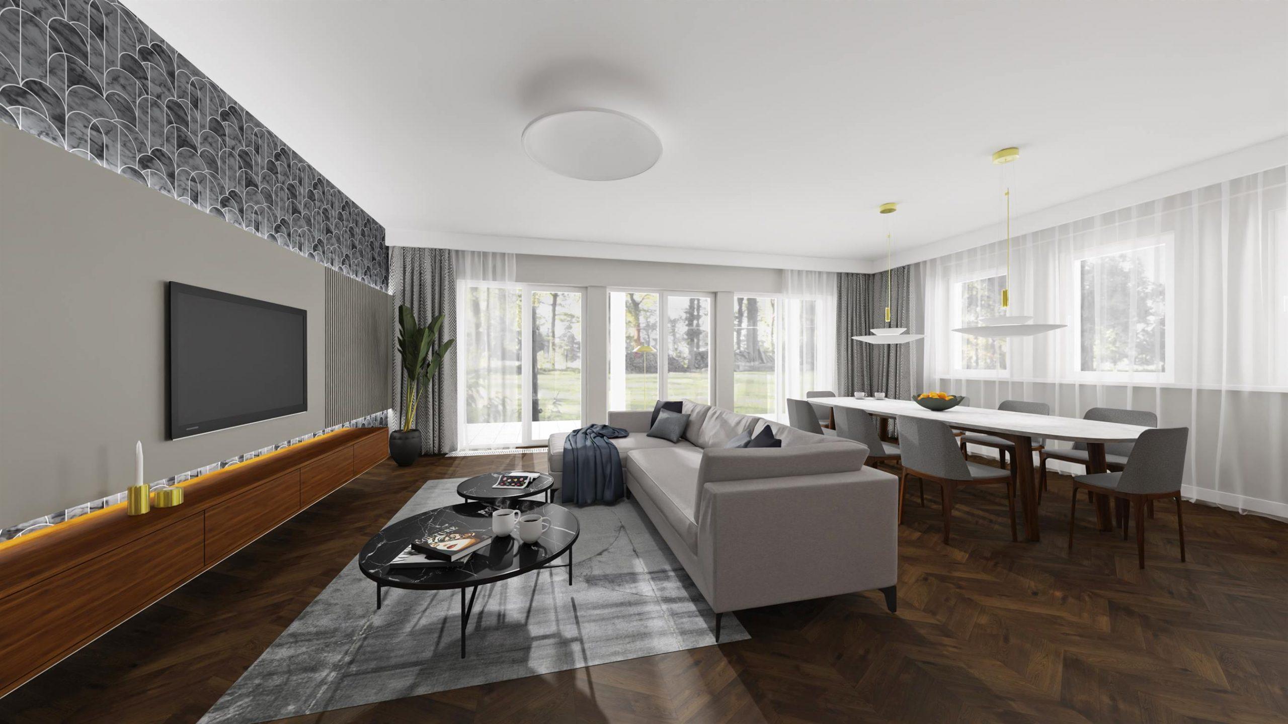 Projekt nowoczesnego salonu w Warszawie