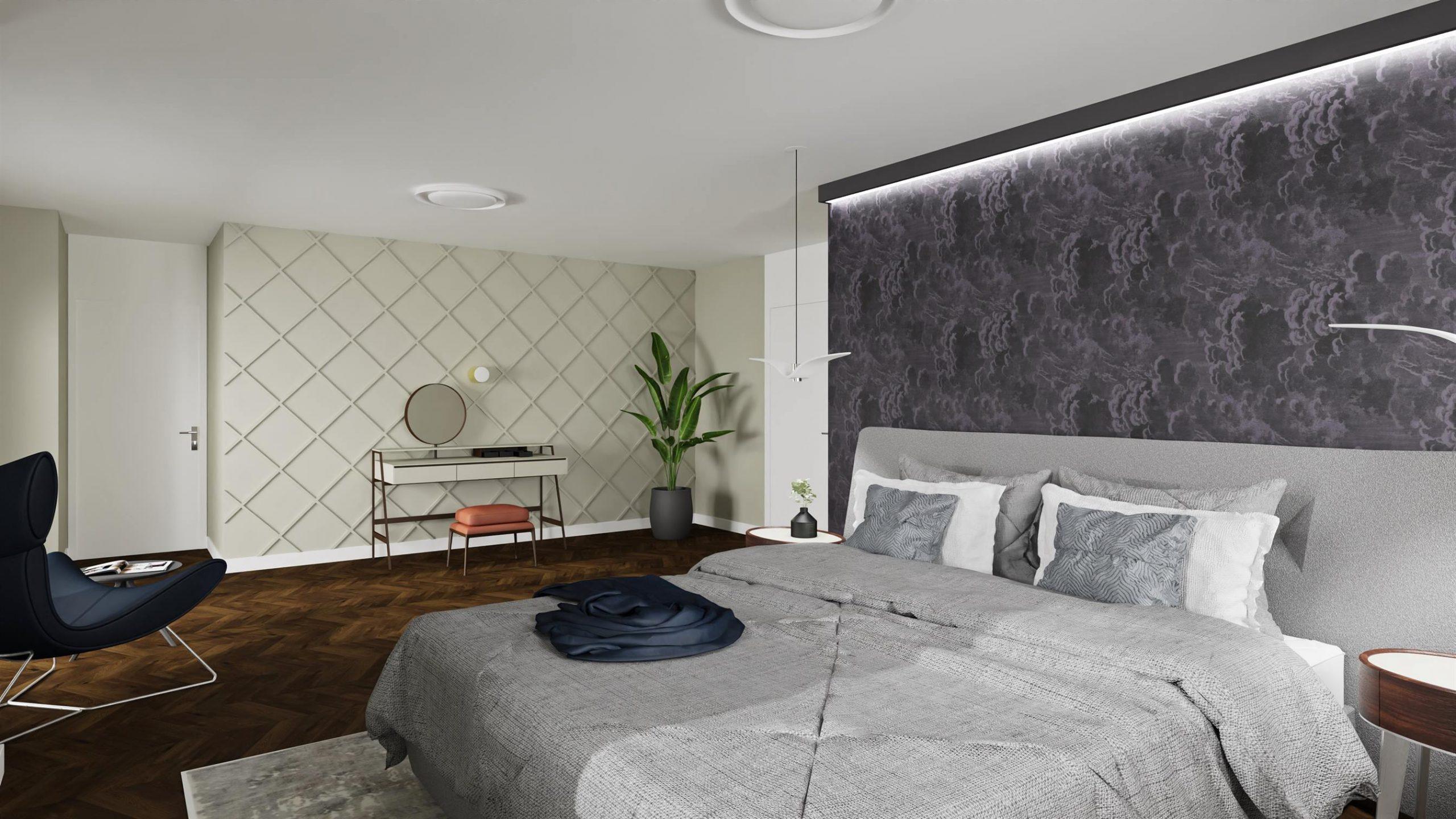 Projekt nowoczesnej sypialni w Warszawie