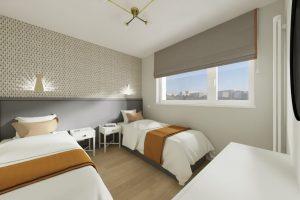 Projekt dwuosobowego pokoju w mieszkaniu w Warszawie