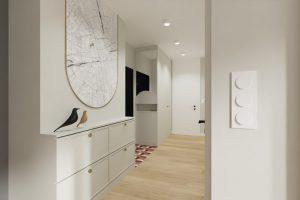 Projekt jasnego przedpokoju w mieszkaniu w Warszawie